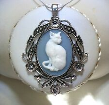KITTY CAT CAMEO NECKLACE Silver Pendant WEDGWOOD BLUE COLORED Victorian Style