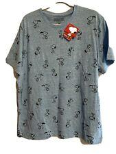 Peanuts Snoopy T Shirt Blue All Over Dog Print Comic Cartoon Size XL