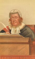 "Vanity fair spy cartoon. sir james f stephen ""le code pénal"". les juges. 1885"