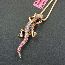 Betsey Johnson Pink Crystal Lizard Gecko Pendant Necklace Sweater Chain