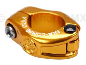 """Dia-Compe MX hinged old school BMX bicycle seat post clamp - 25.4mm (1"""") GOLD"""
