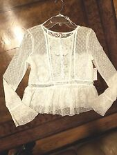 NWT $98 FREE PEOPLE Penelope Lace Peplum Top Blouse  Ivory  Small