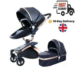 Baby Stroller 3 in 1 high Bassinet 360 Rotation buggy travel Pushchair car seat