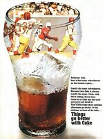 1968 Coca Cola Vintage Print Ad Football Game Things Go Better With Coke