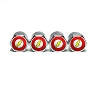 The Flash Tire Valve Stem Caps - Chrome Surface - Set of Four