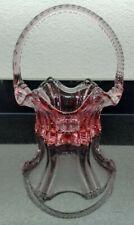 fenton art dusty rose/pink crystal basket with rope design handle & hexagon base