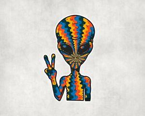 2 x Trippy Pyschedlic Alien UFO Space Scrapbook Sticker Stickers Vinyl Laptop
