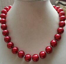New 14mm Red Round South Sea Shell Pearl Necklace 18'' AAA+
