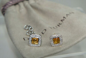 David Yurman 925 Silver 585 GOLD Diamond Citrine Petite Albion Earrings Pouch