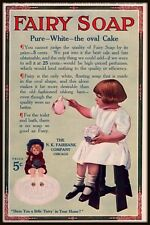 1912 Fairy Soap Little Girl Bubbles Pipe Photo Large Format Print Ad