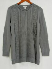 Susan Graver Women's Sweater Cotton Acrylic Cable Knit Gray A298497-L