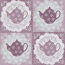 20 Paper Napkins TASTY ENGLISH TEA Vintage Lace Pattern Teapot Kitchen Decoupage