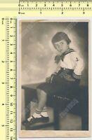 Kid Girl in Sailor Outfit Child Portrait Studio vintage photo original snapshot