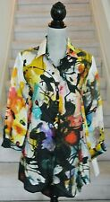 Multi-Color CAROLINE ROSE Long Sleeves 100% LinenTunic Blouse, Size S