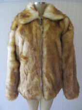 ABLANCHE NATURAL BROWN LONG SLEEVE FAUX FUR COAT SIZE L - NWT