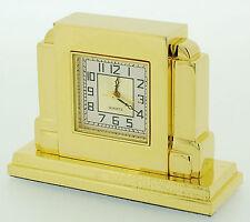 Miniature Novelty Art Deco Mantel Clock in Solid Brass