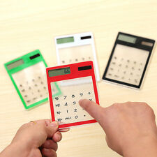 Useful Solar Touch Screen LCD 8 Digit Electronic Transparent Calculator Portable