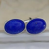 Beautiful Vintage 1950s Lapis Blue Glass Cabochon - Oval Silver Plated Cufflinks