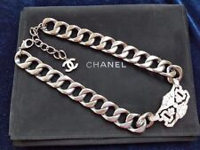 Authentic Chanel Dress Necklace Grey with Crystal centre piece
