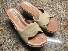 Born Wedge Sandals Women 9 / 40.5  M W Canvas Slides Slip-On Open Toe Shoes Tan