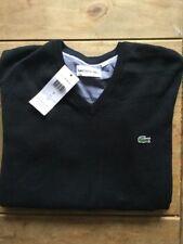 BNWT-Lacoste-MEN 'S maglione scollo a V-Taglia S-Nero-Cotone