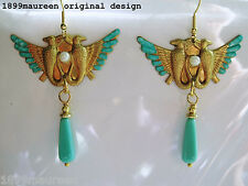 Egyptian revival Art Deco Orecchini 1920s ART NOUVEAU STILE VINTAGE TURCHESE