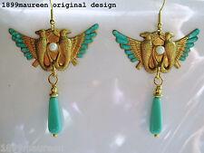 Renacimiento egipcio Art Deco Pendientes 1920s Art Nouveau Estilo Vintage Turquesa