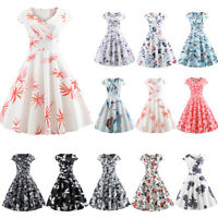 Womens Ladies 50s 60s Vintage Style Pinup Swing Party Rockabilly Casual Dress