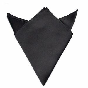 Mens Satin Solid Plain Color Handkerchief Hanky Pocket Square Wedding Party NEW