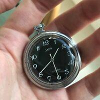 Vintage ZARJA Black Pocket Watch RARE Men's USSR Analog TESTED Mechanical 2009B