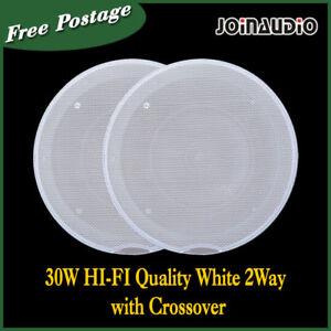 60/80W HIFI 2-Way Ceiling Speaker White Grill Edgeless Crossover 2pcs as 1set