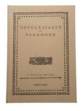L'ECCLESIASTE DI SALOMONE (1773) Anastatica
