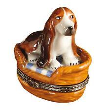 Porcelain BASSET HOUND IN DOG BED BASKET Trinket Box  Hinged Lid New!! REG $50
