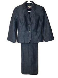Ann Taylor Pant Suit Petite 00P Julie Blue Light Fabric Red Belt