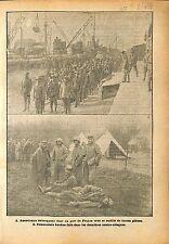 Port Dunkerque Soldiers Sammies US Army/Prisoners Feldgrau WWI 1918 ILLUSTRATION