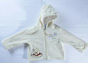 Walt Disney Winnie the Pooh 12m sweat jacket infant yellow fleece hood zip front