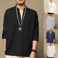 Men's Casual Long Sleeve V Neck Cotton Linen Chinese Style Grandad Shirts Tops