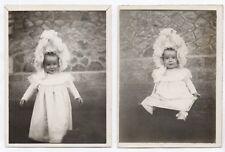 PHOTO ANCIENNE Bébé Enfant Chapeau Layette Robe Vers 1930 2 Photos Portrait