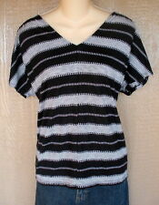 Old Navy M Black Gray Stripe Casual Top Shirt Blouse