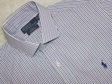 Men's POLO RALPH LAUREN Cotton Long Sleeve Striped Shirt Size 16 40/41