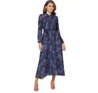 Floaty Georgette Paisley Print Blue Chiffon Midi Length Full Skirt Summer Dress