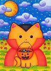 ACEO Original Fantasy Animal Halloween Cat Dracula Trick r Treat Candy Moon