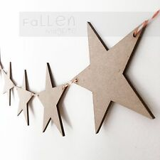 Wooden Party Bunting Star Flags Wedding Craft Blanks MDF Wood Shapes