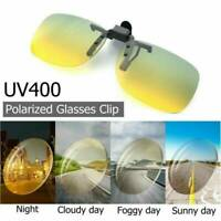 HD UV400 Polarised Anti-Glare Clip On Sunglasses Day Night Driving Glasses Lens