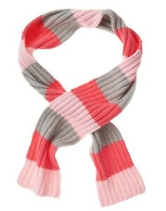 GYMBOREE ENCHANTED WINTER PINK CORAL & GRAY STRIPED SWEATER SCARF 1-SIZE NWT