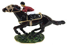 Black Racehorse with Jockey,  Horse Trinket Box or Figurine Approx 7.5cm High