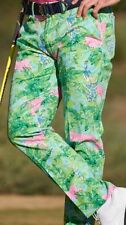 NWT RLX RALPH LAUREN MENS GREEN JUNGLE PINK TIGER GOLF PANTS MENS 36 32 $125
