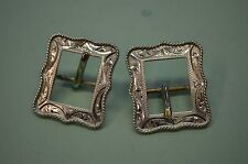 """FLEMING 214 STERLING SILVER Horse Bridle Headstall Decorative Buckles 3/4"""" belt"""