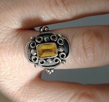 """Baugette Shaped Citrine Ring Sz 8 Vtg Sterling Silver 5/8"""" H Gothic Revival"""