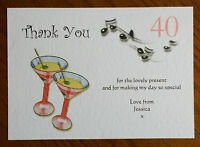 Personalised birthday thank you cards cocktail 18th 21st 30th 40th 50th 60th +